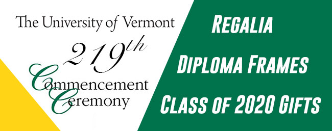 The University of Vermont Commencement Ceremony. Shop Regalia, Diploma Frames, class of 2021 Gifts