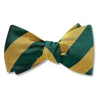 Bow Tie - Green & Gold Diagonal Stripes