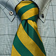 NECKTIE - GREEN & GOLD DIAGONAL STRIPES