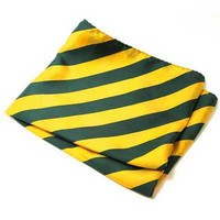 Silk Scarf - Green & Gold Striped