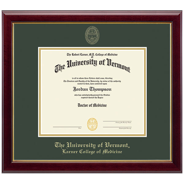 Embossed Gallery Medical Diploma Frame | The UVM Bookstore