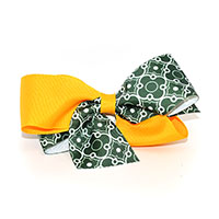 Green & Gold Hair Bow