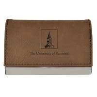 Tower Logo Velour Accented Business Card Holder