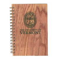 Wooden Wirebound Journal With University Seal