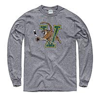dfd6af7b40d New Agenda Distressed Hockey V Cat Long Sleeve T-Shirt