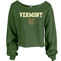 Blue 84 Ladies Vermont V/Cat Wide Neck Cropped Crew