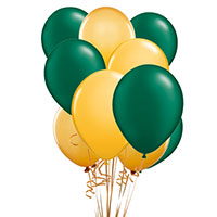 Green & Gold Latex Balloon 10 Pack
